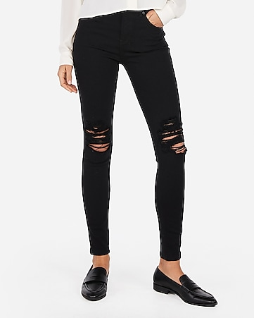 black ripped jeans womens